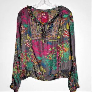 Johnny Was 100% Silk Floral Embroidered Blouse